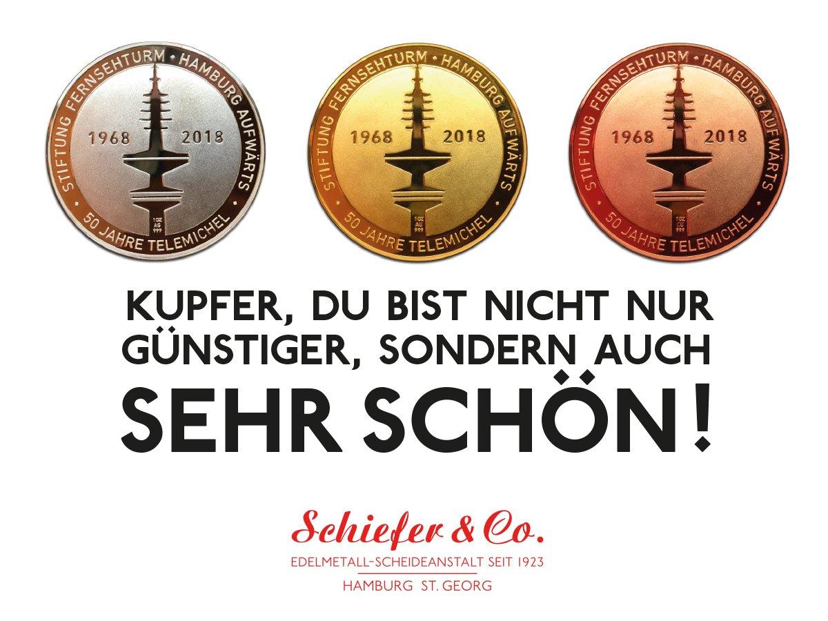 Zur Unterstützung der Renovierung des Telemichels hat die Hamburger Edelmetall-Scheideanstalt Schiefer & Co. Medaillen in Feingold, Feinsilber und Feinkupfer prägen lassen, welche die Fans des Fernsehturms käuflich erwerben können.