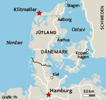 Von Hamburg nach Klitmøller braucht man mit dem Auto knapp fünf Stunden.
