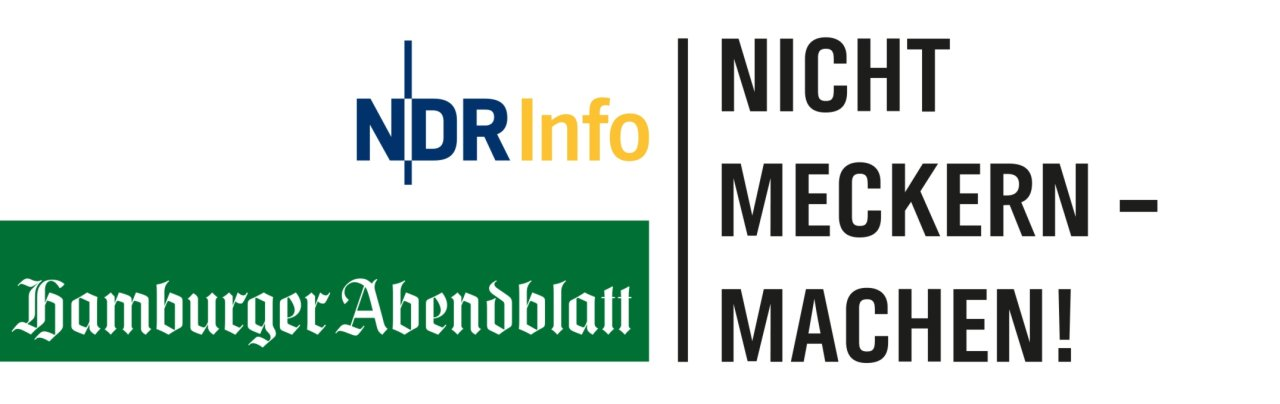 """Logo """"Nicht meckern - machen!"""" NDR Info/Hamburger Abendblatt Pressefoto"""