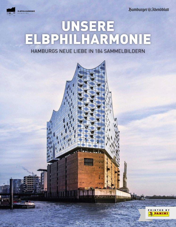 """Das Panini-Album """"Unsere Elbphilharmonie"""". Insgesamt gibt es 184 Bilder."""