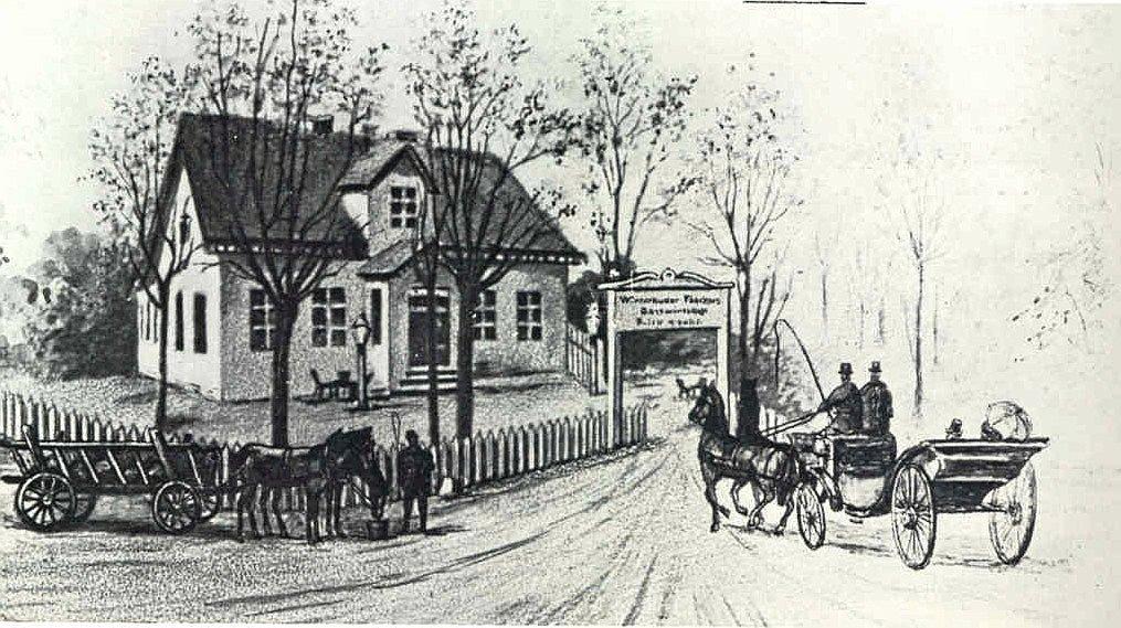 Das ursprüngliche Winterhuder Fährhaus 1854. Später wurde angebaut.