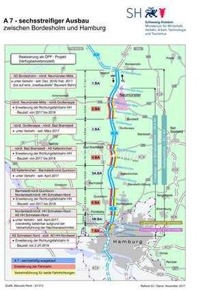 Plan zum Ausbau der A7 zwischen Hamburg-Nordwest und Bordesholm