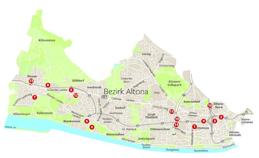 Auf der Karte des Bezirks Altona markieren die Ziffern die einzelnen Vorhaben.