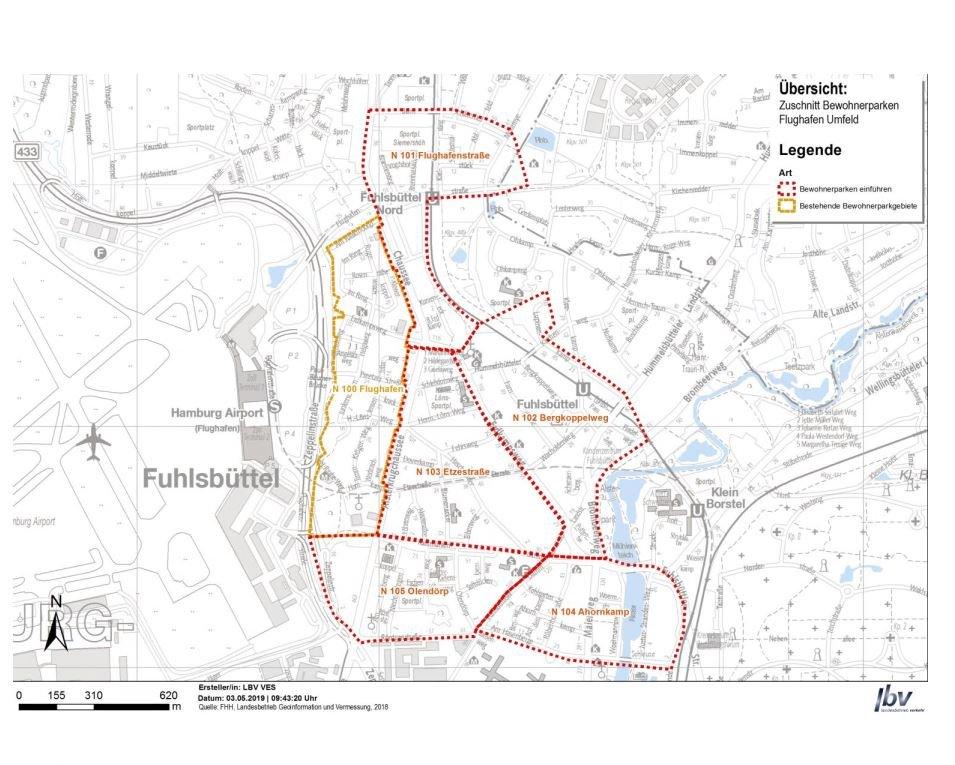 Die roten Markierungen stellen die neuen Bewohnerparkzonen dar.