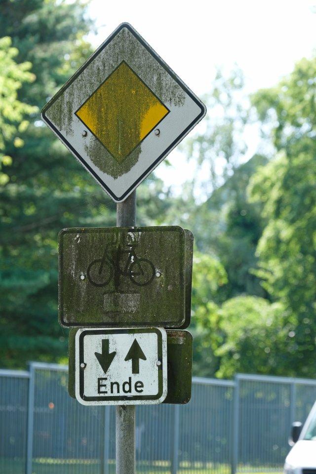 Das Fahrrad ist selbst aus der Nähe nur mit Mühe zu erkennen.