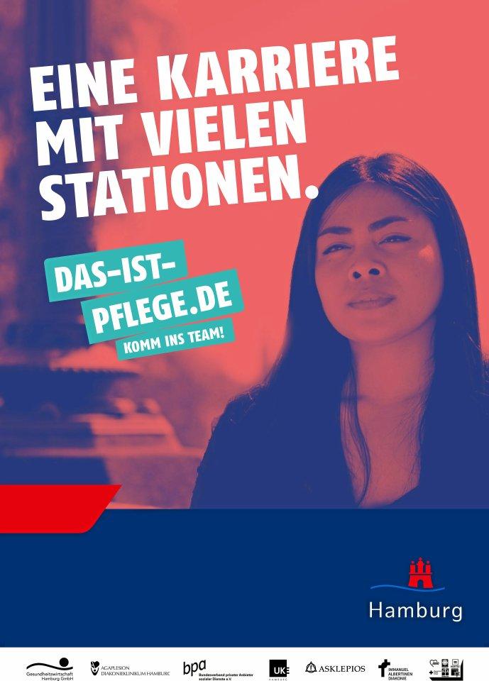Ein Plakatmotiv aus der neuen Kampagne für den Pflegeberuf.