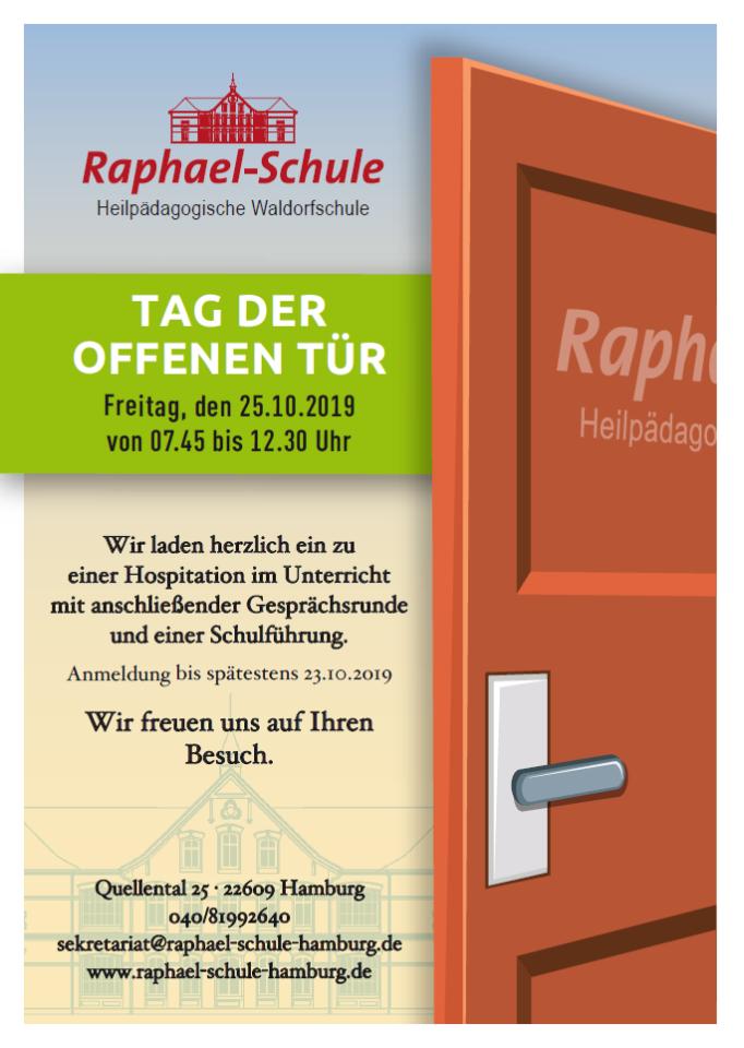 Der aktuelle Flyer der Raphael-Schule zum Tag der offenen Tür.