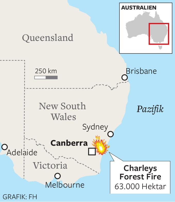 "Nahe Canberra wütet das Inferno namens ""Charleys Forest Fire""."