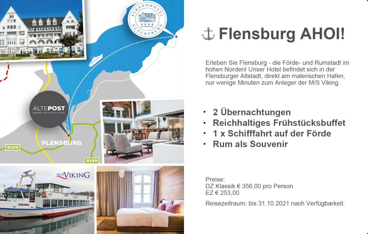 """Mit dem Paket """"Flensburg AHOI!"""" kommen alle Küstenfreunde in den Genuss eines unvergesslichen Wochenendes im hohen Norden."""