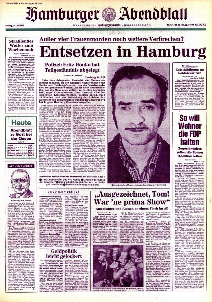Die Abendblatt-Titelseite vom 18.7.1975 mit Fritz Honka.
