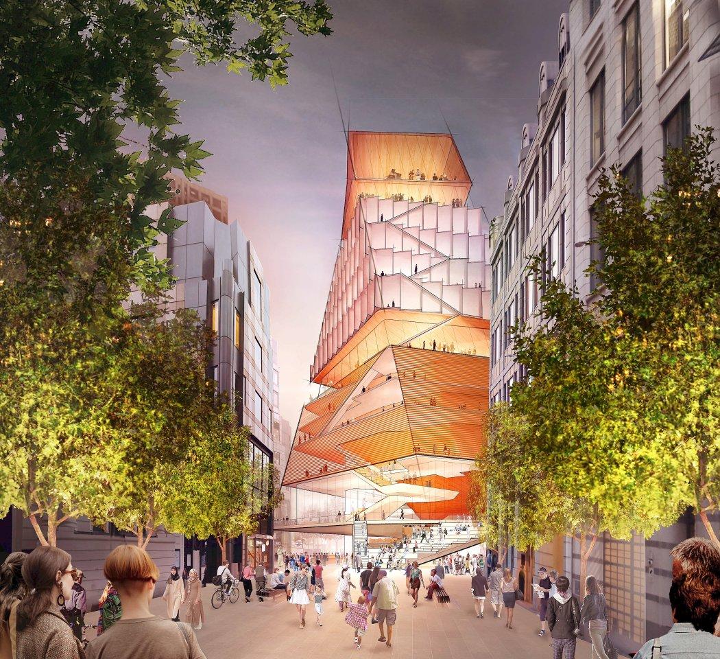 """Besonderes Merkmal des neuen Londoner """"Centre for Music"""" wäre der Sandwich-Konzertsaal oberhalb einer Plaza-Zone."""