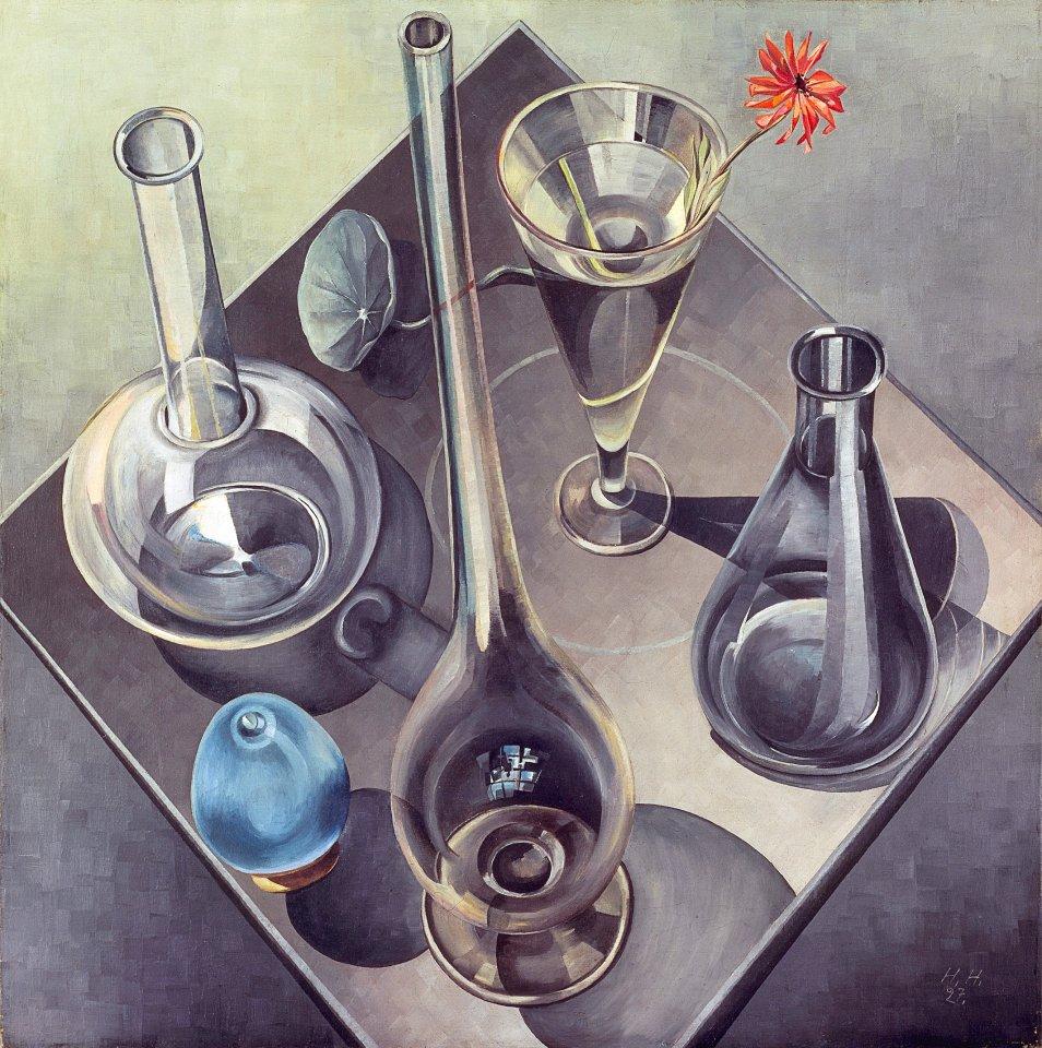 """Stillleben wie die """"Gläser"""" von Hannah Höch aus dem Jahr 1927 zeigen eine ungewohnte Perspektive, die mit vertrauten Sehgewohnheiten bricht."""