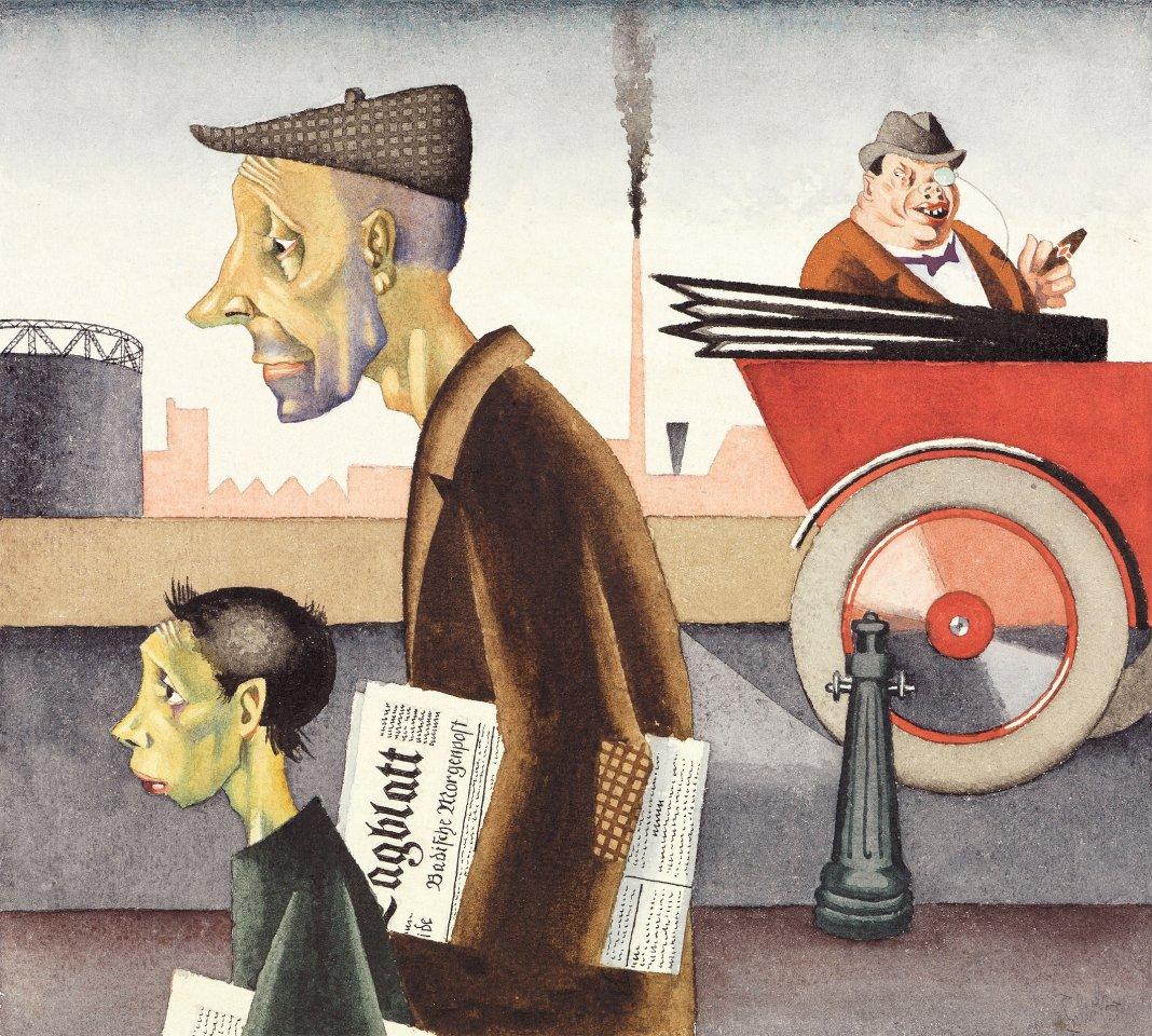 """Mit seinen Collagen machte der Künstler Georg Scholz auf soziale Missstände aufmerksam: """"Arbeit schändet"""" von 1921."""