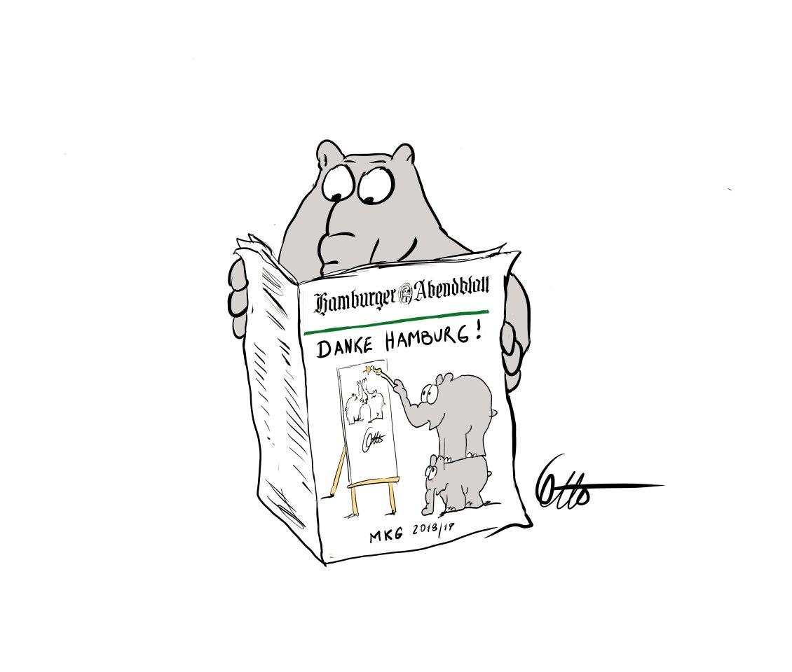 Für das Abendblatt hat Otto eine exklusive Dankeschön-Zeichnung angefertigt.
