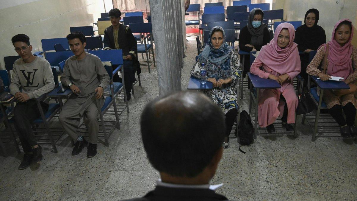 Männer und Frauen an Kabuler Uni durch Vorhang getrennt