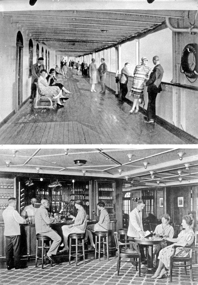 """Panoramadeck und Bar der """"Monte Cervantes"""" um 1928."""